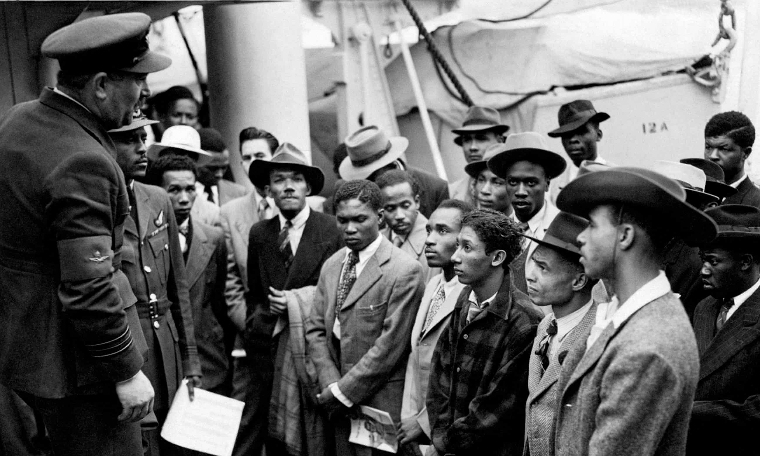 Empire Windrush migrants arrive at Tilbury in 1948. Photograph: PA