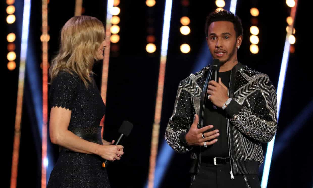 'Lewis Hamilton is Stevenage's most famous son, which made his comments at the Sports Personality of the Year awards all the more hurtful to some.' Hamilton is interviewed by Gabby Logan. Photograph: David Davies/PA
