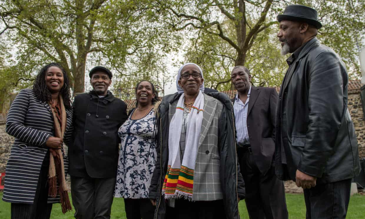 Paulette Wilson (third left) and other victims of Windrush injustices on College Green in Westminster after meeting MPs in May 2018. Photograph: Chris J Ratcliffe/Getty Images