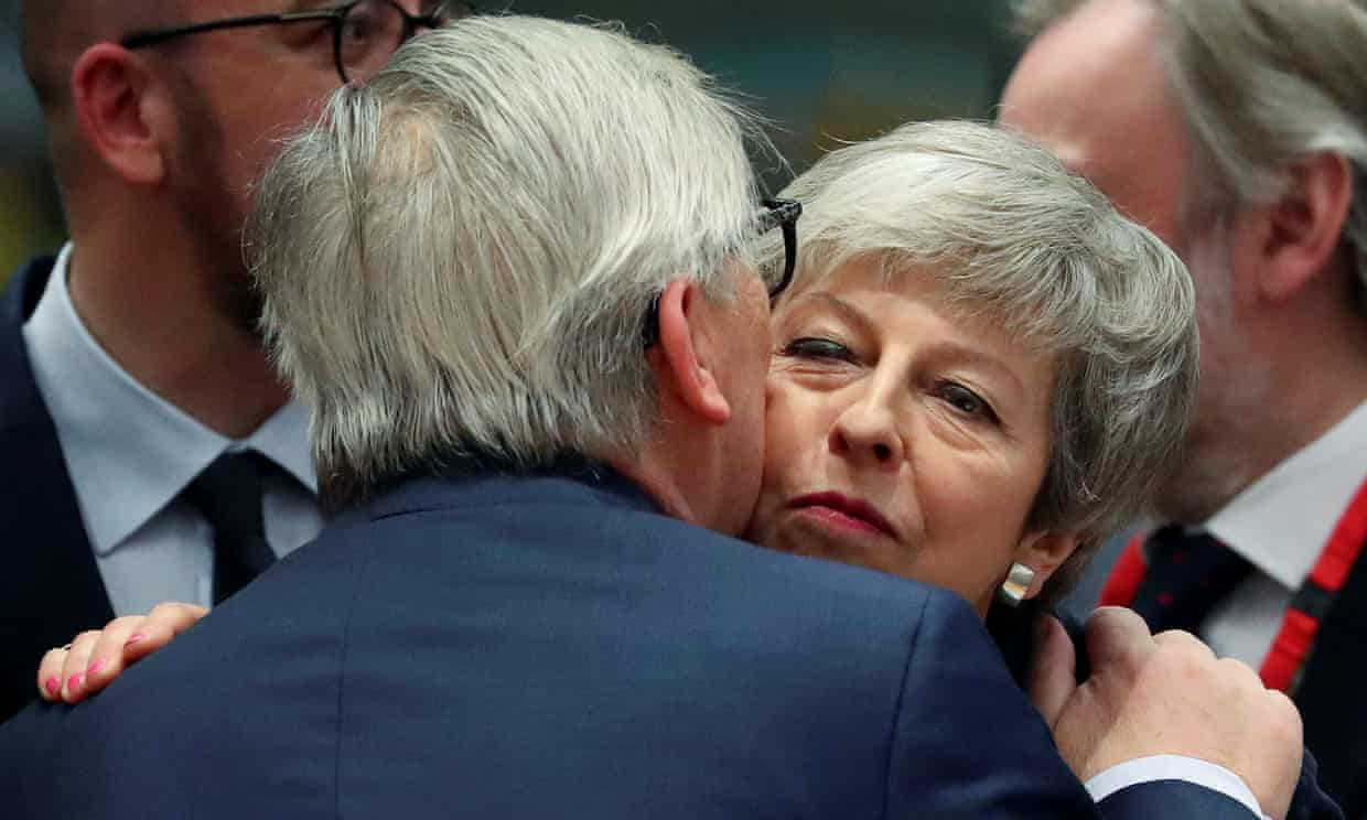"Juncker and May at an EU leaders summit on 21 March. 'This awful game of chicken was May's plan all along – waste time until the ""choice"" was between her deal and no deal.' Photograph: Yves Herman/Reuters"