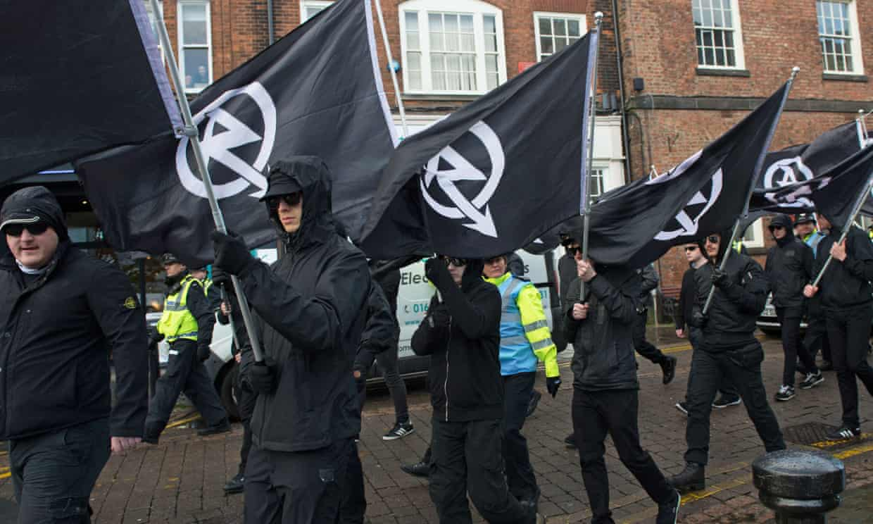 'The neo-Nazi terror group National Action has called for a 'white jihad'.' A National Action march in Darlington, County Durham. Photograph: HOPE not hate/PA