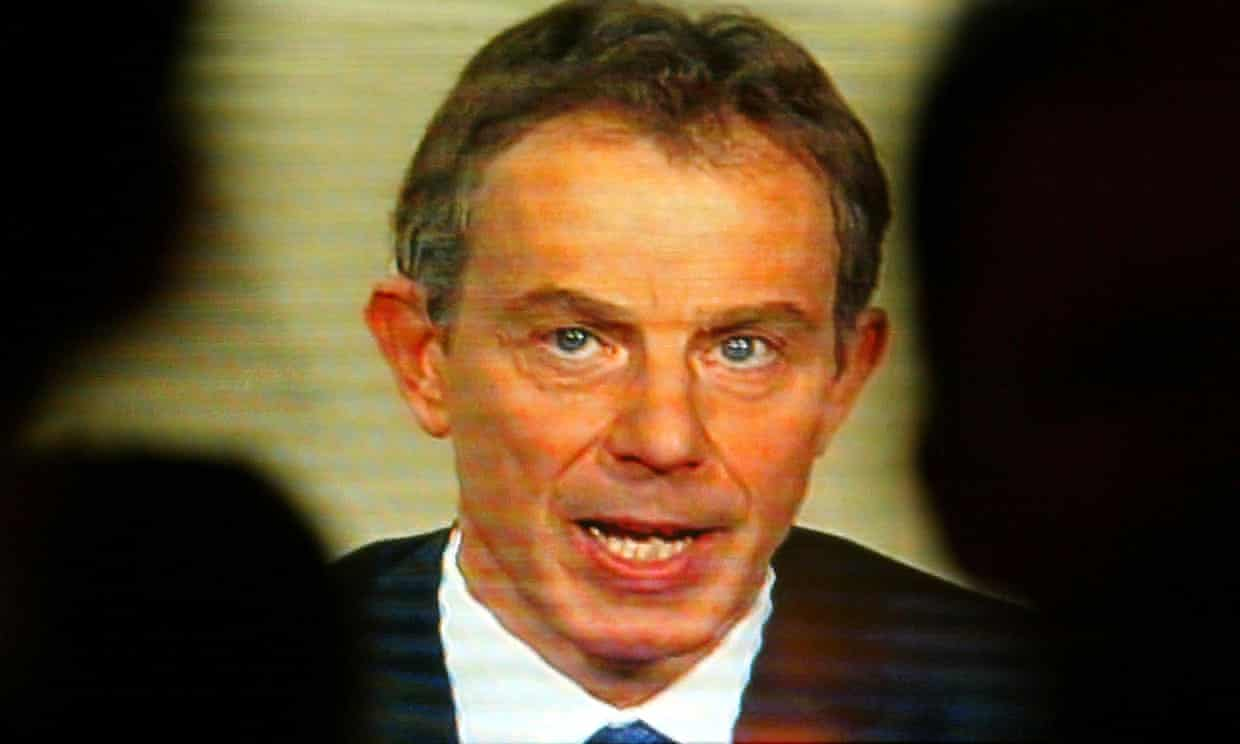 Tony Blair announces the invasion of Iraq on TV on 20 March, 2003. Photograph: Paul Mcerlane/REUTERS