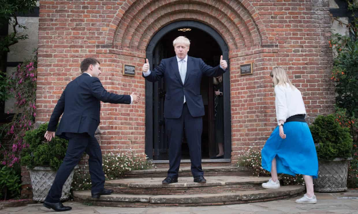 Boris Johnson during a tour of the RHS garden in Wisley, Surrey, on 25 June. Photograph: Stefan Rousseau/PA