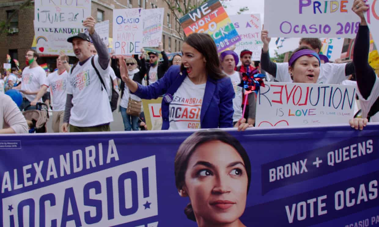 Alexandria Ocasio-Cortez in a still from Knock Down the House. Photograph: Netflix