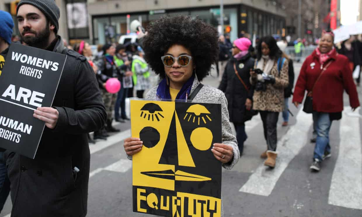 A woman attends the Women's March in New York in 2018. Photograph: Anadolu Agency/Getty Images