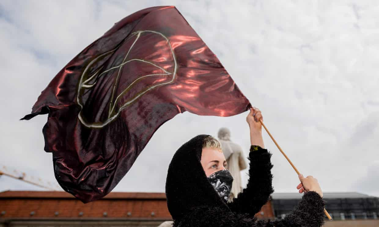 An Extinction Rebellion activist at a protest in Berlin in April this year. Photograph: Getty Images