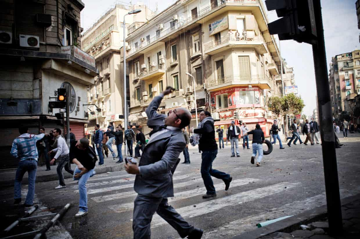 Protesters on the streets of Cairo on the Friday of Anger, 28 January 2011. Photograph: Eduardo Castaldo