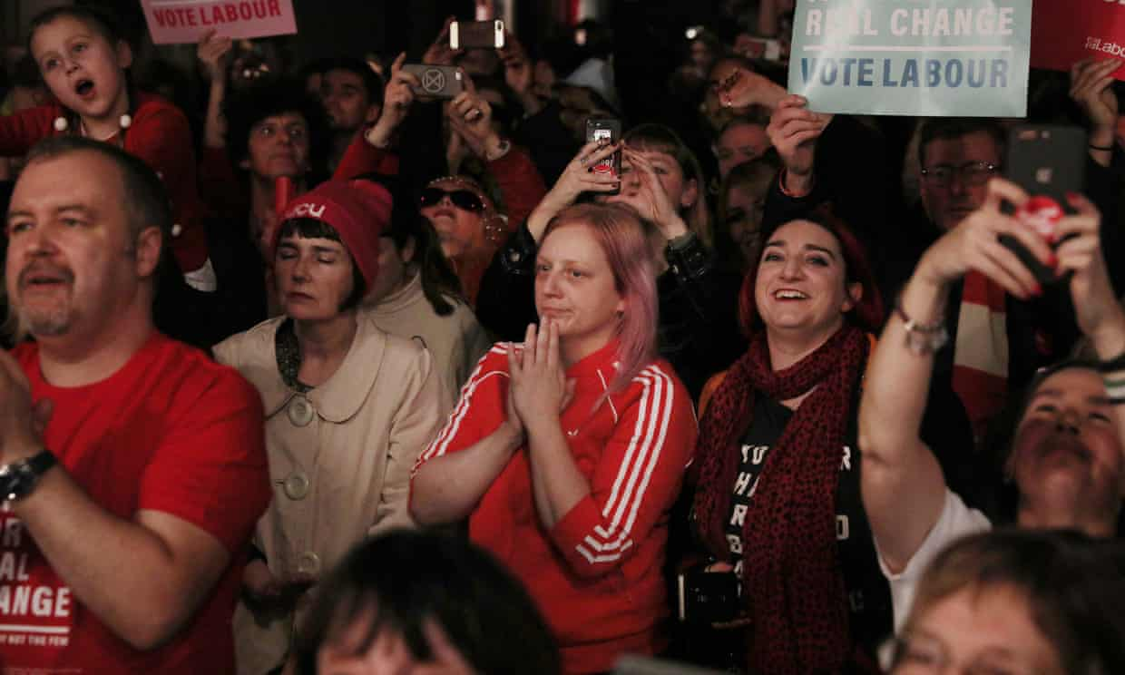 'There is more to politics than elections.' Labour supporters at a campaign rally in London, December 2019. Photograph: Dan Kitwood/Getty Images