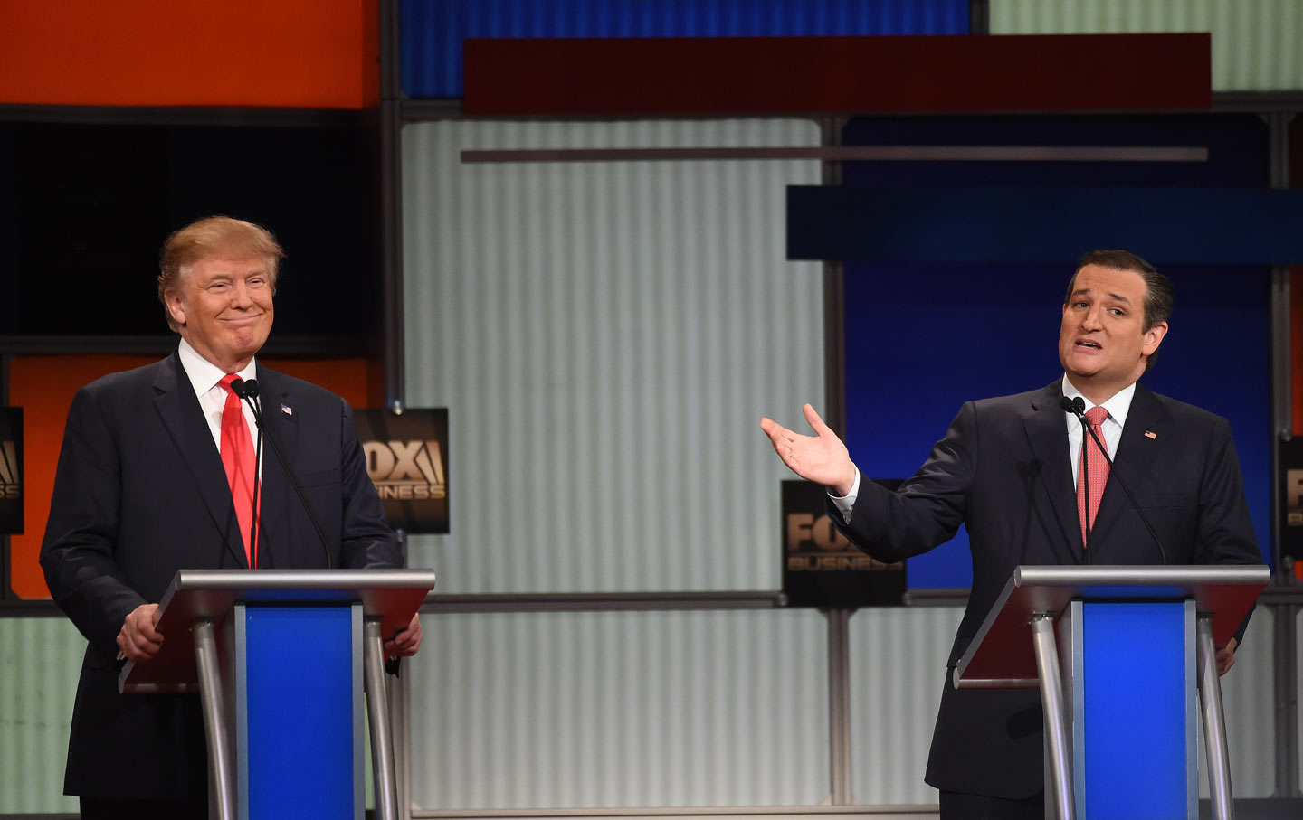 Donald Trump speaks as  Senator Ted Cruz looks on during the Fox Business Network Republican presidential debate at the North Charleston Coliseum, on Thursday, January 14, 2016.  (AP Photo / Rainier Ehrhardt)