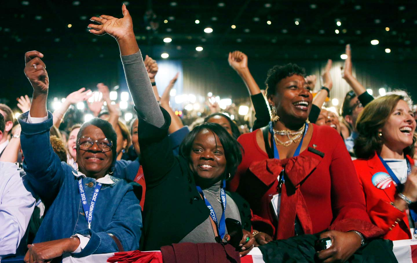 Obama supporters cheer while watching the returns prior to his election night rally in Chicago, November 6, 2012. (Reuters / Kevin Lamarque)