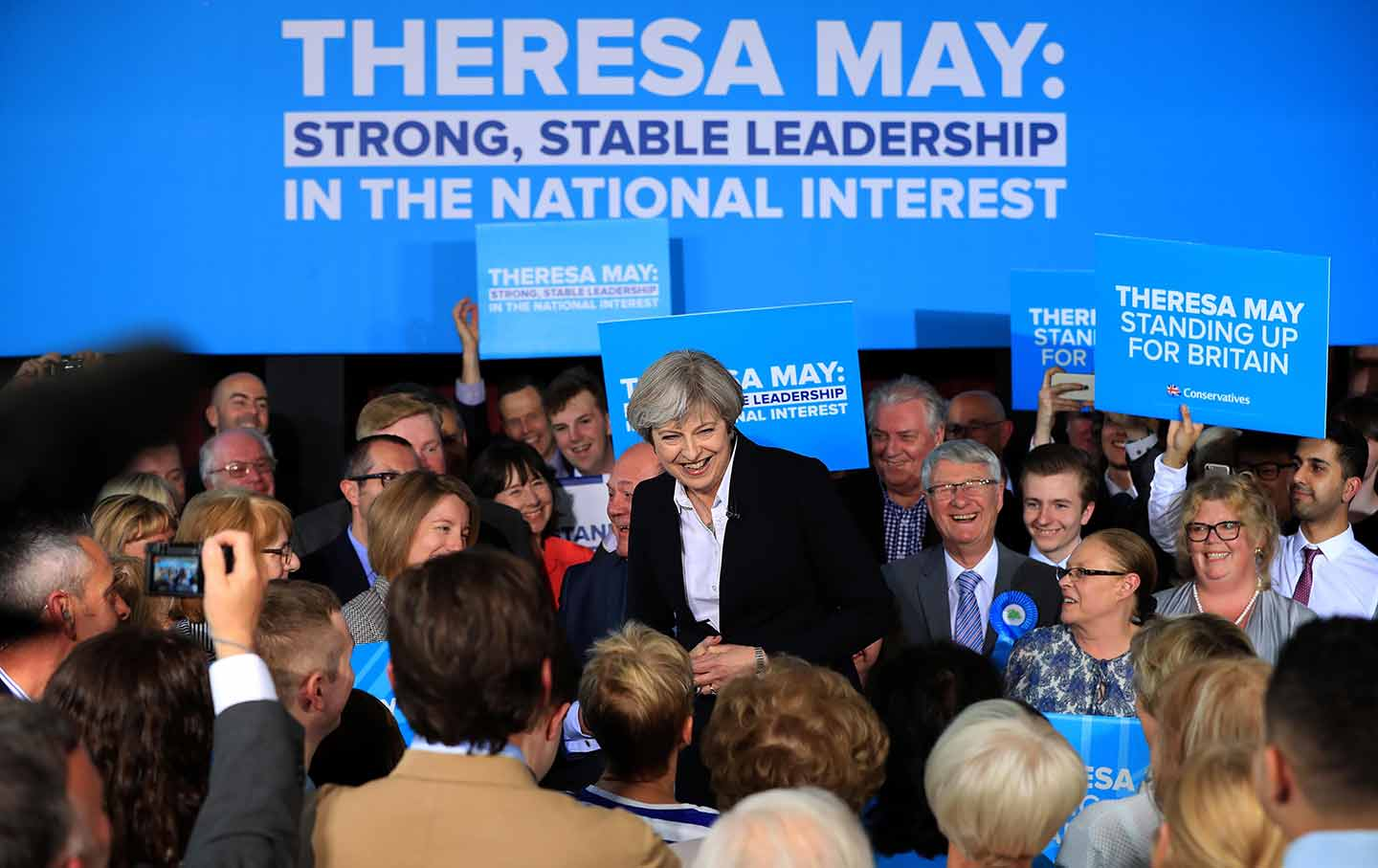 Theresa May campaigning in Lancashire on May 1, 2017. (Peter Byrne / Press Association via AP Images)