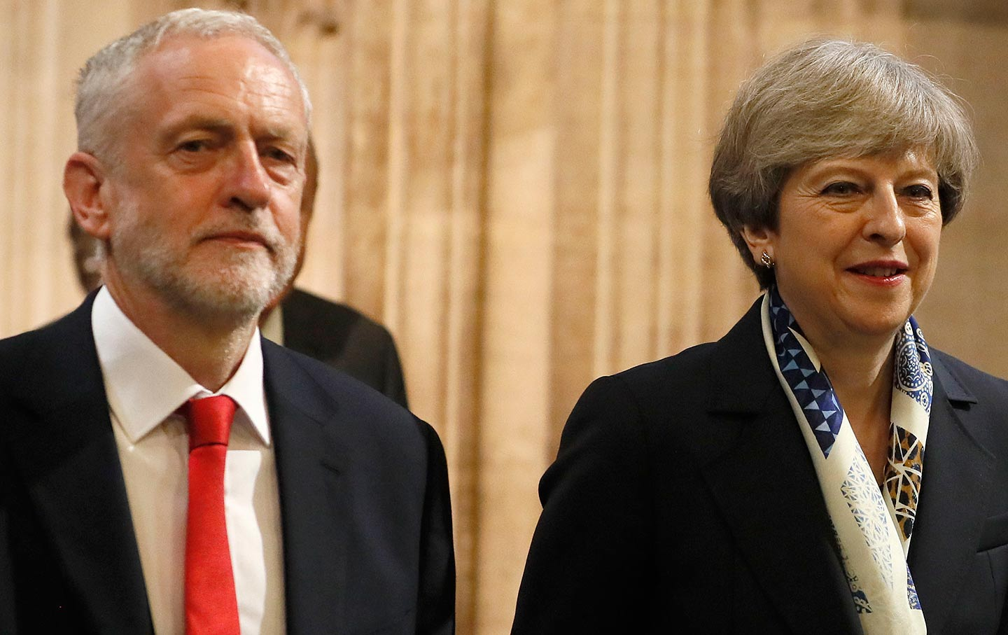 UK Prime Minister Theresa May and opposition leader Jeremy Corbyn, June 21, 2017. (Press Association via AP Images / Kristy Wigglesworth)