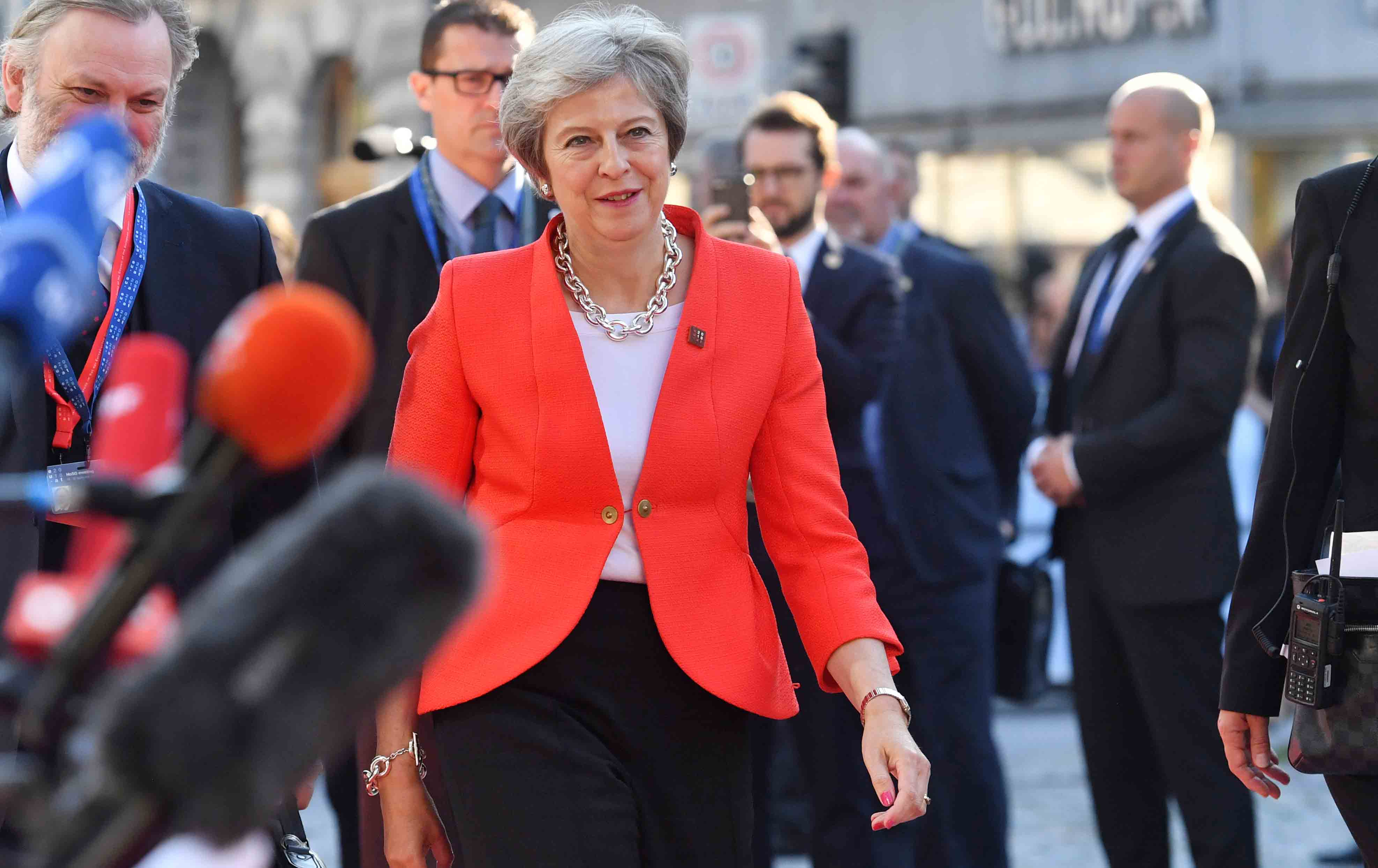 British Prime Minister Theresa May arrives at the EU summit in Salzburg, Austria, Thursday, September 20, 2018.  (AP Photo / Kerstin Joensson)